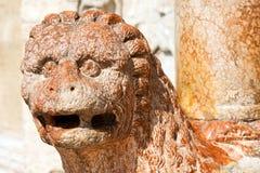 Basilica of San Zeno Verona - Marble Lion Stock Photos