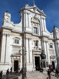 The Basilica of the Sanctuary of the Holy House of Loreto in Ita. The facade of the Basilica of the Sanctuary of Loreto. Marche region, central Italy stock images