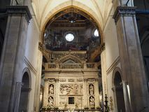 The Basilica of the Sanctuary of the Holy House of Loreto in Italy. Internal view of the Basilica of the Sanctuary of Loreto. Marche region, central Italy stock photos