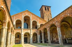 Basilica of Sant`Ambrogio church brick building, Milan, Italy stock photography