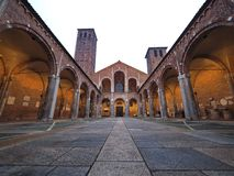 The Basilica of Sant`Ambrogio, one of the most ancient churches in Milan. Patron saint of Milan. Exterieur basilica of Sant`Ambrogio, one of the most ancient Stock Photo
