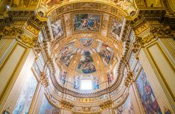 Basilica of Sant`Andrea della Valle in Rome, Italy. Sant`Andrea della Valle is a minor basilica in the rione of Sant`Eustachio of the city of Rome, Italy. The royalty free stock images