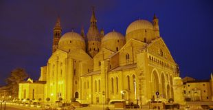 Basilica of Sant'Antonio da Padova. (St. Anthony) at night Royalty Free Stock Photography