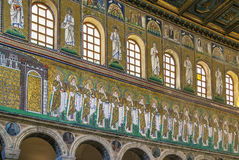 Basilica of Sant Apollinare Nuovo, Ravenna. Italy. Mosaics on the side of the nave in Basilica of Sant Apollinare Nuovo, Ravenna. Italy Royalty Free Stock Photography