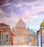 Basilica Sant Pietro, painted by watercolor. In Rome, Italy Stock Photo