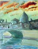Basilica Sant Pietro, Tiber river and Ponte Vittorio Emanuele Royalty Free Stock Image