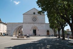 The Basilica of St Claire Santa Chiara, Assisi, Italy stock image