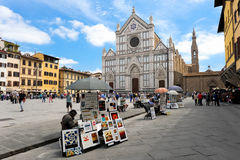 Basilica of Santa Croce in Florence with peddlers Stock Photography