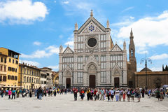 Basilica of Santa Croce in Florence with tourists Royalty Free Stock Photo
