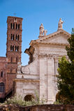 Basilica santa Francesca Romana and belfry at Roman forum Royalty Free Stock Images