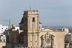 Basilica of Santa Maria in the city of Elche. Royalty Free Stock Photo