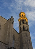 Basilica Santa Maria del Mar in sunset beams Stock Photography