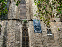 Basilica  of Santa Maria del Pi in Barcelona, Spain. Barcelona, Spain - October 1, 2015 - The Basilica de Santa Maria del Pi side wall 14th century in the Gothic Royalty Free Stock Images