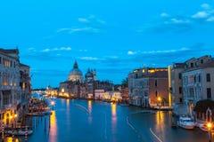 Basilica Santa Maria della Salute and Grand Canal at blue hour, Stock Photo