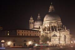 Basilica Santa Maria della Salute at night Stock Images