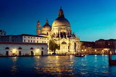 Basilica Santa Maria della Salute in sunset time, Venice, Italy Stock Images