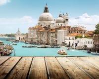 Basilica Santa Maria della Salute, Venice and wooden surf Stock Images