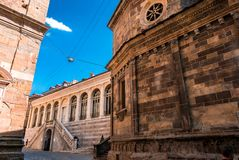 Basilica Santa Maria Maggiore in Citta Alta, Bergamo, Italy. Historical architecture of Old town or Upper City in Bergamo. Beautif royalty free stock photography