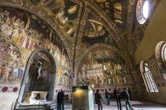 Basilica of Santa Maria Novella, Florence, Italy. FLORENCE, ITALY, OCTOBER 26, 2015 : interiors and architectural details of Santa Maria Novella basilica stock photo