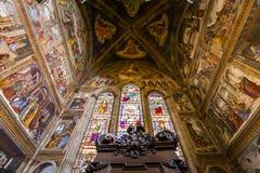 Basilica of Santa Maria Novella, Florence, Italy. FLORENCE, ITALY, OCTOBER 26, 2015 : interiors and architectural details of Santa Maria Novella basilica royalty free stock photos