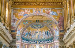 Interior of the Basilica of Santa Maria in Trastevere in Rome, Italy. stock photos