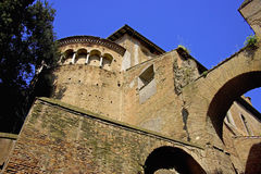 Basilica   santi giovanni paolo rome italy ancient. Buttress  masonry arch archaeology Royalty Free Stock Photos