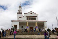 Basilica of the Senor de Monserrate. BOGOTA, COLOMBIA - MAY 05, 2014: The Cerro de Monserrate is a mountain that dominates the city center of Bogota, the capital Royalty Free Stock Photos