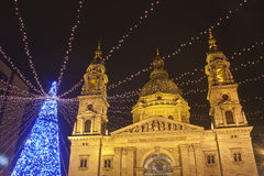 The Basilica Square at christmastime. In Budapest stock photo