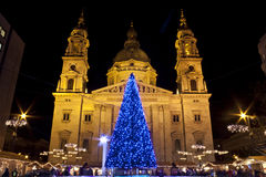 Basilica Square at christmastime. Christmas fair before the Basilica Square at christmastime stock photo