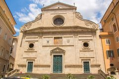 The Basilica of St. Augustine in Rome city. Sant`Agostino is a Roman Catholic church. In the piazza of the same name near Piazza Navona stock images