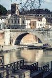 Basilica St. Bartholomew, Pons Cestius, Tiber Island and river. Rome, Italy Stock Images