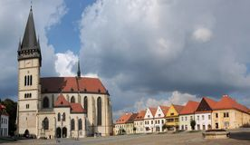 Basilica of st.Egidius and Town Hall, Bardejov, Slovakia Royalty Free Stock Photo