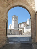 Basilica, St Francis of Assisi. Basilica of St. Francis of Assisi framed by archway Stock Image