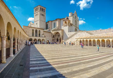 Basilica of St. Francis of Assisi, Assisi, Umbria, Italy. Famous Basilica of St. Francis of Assisi (Basilica Papale di San Francesco) with Lower Plaza in Assisi Stock Images