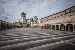 Basilica of St. Francis of Assisi with Lower Plaza in Assisi,  I Stock Images
