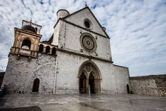 Basilica of St. Francis of Assisi with Lower Plaza in Assisi,  I. Basilica of St. Francis of Assisi (Basilica Papale di San Francesco) with Lower Plaza  in Royalty Free Stock Image