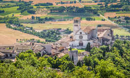 Basilica of St. Francis of Assisi at sunset, Umbria, Italy royalty free stock image
