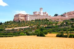 Basilica of St Francis, Assisi. View towards the famous Basilica of St Francis, Assisi, Italy Royalty Free Stock Image