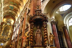The Basilica of St. James (Czech: Kostel svatého Jakuba Většího) in the Old Town of Prague, Czech Republic. Royalty Free Stock Photo