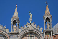 The Basilica of St Mark's Venice. A view of the beautiful front of the Basilica of Saint Mark on Venice's picturesque waterfront Stock Photos