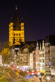 The Basilica of St. Martin at night in Cologne stock photography