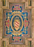 Pope Pius V coat of arms in the ceiling of the Basilica of Santa Maria in Ara Coeli, in Rome, Italy. The Basilica of St. Mary of the Altar of Heaven is a Royalty Free Stock Photos