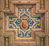 SPQR shield in the ceiling of the Basilica of Santa Maria in Ara Coeli, in Rome, Italy. The Basilica of St. Mary of the Altar of Heaven is a titular basilica in Royalty Free Stock Photos