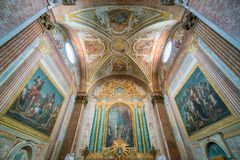 Basilica of St. Mary of the Angels and the Martyrs in Rome, Italy. The Basilica of St. Mary of the Angels and the Martyrs is a titular basilica church in Rome Stock Image