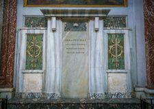 The tomb of Armando Diaz in the Basilica of Saint Mary of the Angels and the Martyrs in Rome, Italy. The Basilica of St. Mary of the Angels and the Martyrs is a Royalty Free Stock Photography