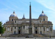 Basilica of St Mary Major at the Piazza dell`Esquilino in Rome stock image
