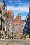 Basilica St. Mary's. Mariacka Street with the Basilica St. Mary's in Old Town of Gdansk, Poland Royalty Free Stock Photography