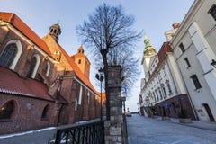 Basilica of St. Nicholas and Grudziadz City Hall. Grudziadz, Kuyavian-Pomeranian Voivodeship, Poland Royalty Free Stock Photos
