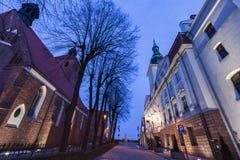 Basilica of St. Nicholas and Grudziadz City Hall. Grudziadz, Kuyavian-Pomeranian Voivodeship, Poland Stock Images