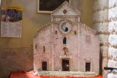 Basilica of St. Nicholas from papier-mache on Bari street, Apulia, Italy royalty free stock photo